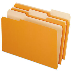 Pendaflex Colored File Folders 1 3 Cut Top Tab Legal Orange light Orange 100 box