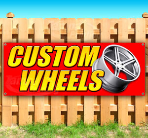 Custom Wheels Advertising Vinyl Banner Flag Sign Many Sizes Usa