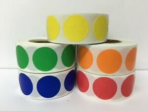 20 Rolls Only Gold 1 Round Color Coded Inventory Stickers Dots 500 Labels P r