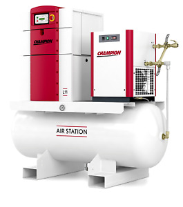 Champion L07 Rotary Screw Air Compressor 10hp W Refrigerated Air Dryer 120 Gal