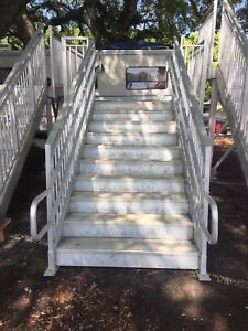 Aluminum 60 Metal Stairs W 6x8 Platform For Industrial Or Marine Dock Modular