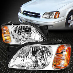 For 2000 2004 Subaru Legacy Pair Chrome Housing Amber Corner Headlight Lamp Set
