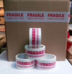 Fragile Carton Seal Tape 2 Inch X 55 Yards 36 Rolls American Made not Imported