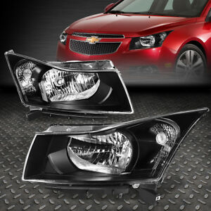 For 2011 2015 Chevy Cruze Pair Black Housing Clear Corner Headlight lamp Set