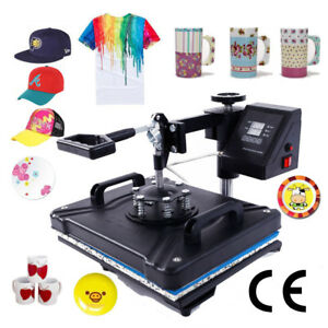 Heat Press Machine 5in1 Digital Transfer Sublimation Diy T shirt Mug Hat Plate