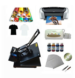 15 x15 Flat Heat Press Machine Epson Printer Paper Ink Ciss T shirts Vinyl Cd