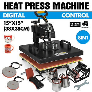 15x15 8in1 Heat Press Machine Digital Transfer Sublimation T shirt Mug Cap Print