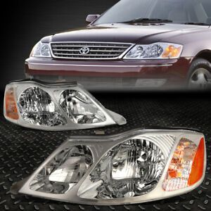 For 2000 2004 Toyota Avalon Pair Chrome Housing Amber Corner Headlight lamp Set