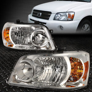 For 2004 2006 Toyota Highlander Pair Chrome Housing Amber Corner Headlight lamp