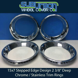 15 Stepped Edge 2 3 8 Chrome Stainless Steel 15x7 Wheel Trim Beauty Rings Set