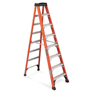 Louisville Fiberglass 8 Step Ladder 300lb Cap 21 x3 1 2 x50 Gy Fs1408hd