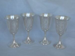 Set Of 4 Vintage Sterling Water Goblets