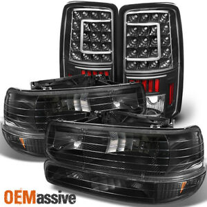 Fit 00 06 Chevy Suburban Tahoe Black Headlights bumper led Tail Lights