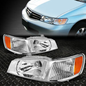 For 1999 2004 Honda Odyssey Pair Chrome Housing Amber Corner Headlight Lamp Set