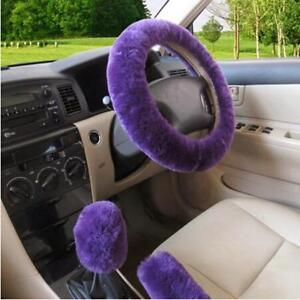 Cute Steering Wheel Cover For Women Girl Winter Fluffy Warm Plush Car Interior J
