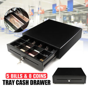 Cash Register Drawer Box 5 Bill 8 Coin Tray Compatible Works W pos Printers Rj11