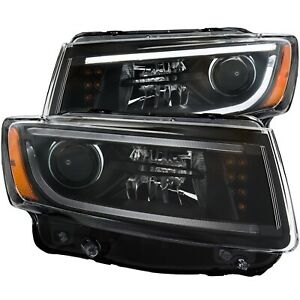 Anzo Black Projector Headlights With Halo Fits 2014 Jeep Grand Cherokee