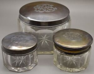 Antique International Sterling Silver Cut Glass Vanity Jar Set Monogrammed