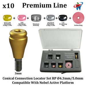 10x Rs Dental Implant Locator Conical Attachment Abutment Rp Nobel Active 3mm