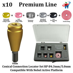 10x Rs Dental Implant Locator Conical Attachment Abutment Rp Nobel Active 4mm
