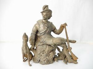 Antique Spelter Male Hunter With Dog Game Clock Mount