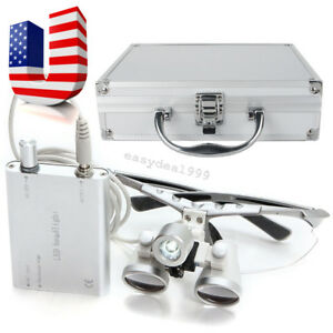 Dental Surgical Medical Binocular Loupes 3 5x 420 Head Light Aluminum Metal Case