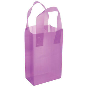 Frosted Plastic Grocery Shopping Bags With Handle 5x3x7 Lavender Lot Of 100 New