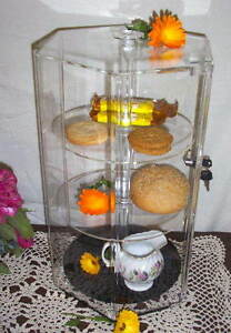 3 Shelf Hex Counter Display Showcase Locks Revolves Plexiglass Jewelry Bakery