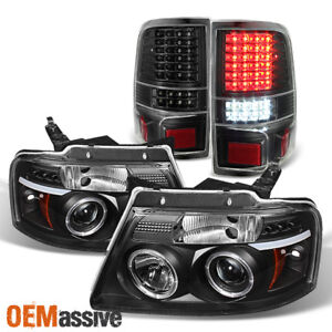 For 04 08 Ford F150 Black Halo Projector Led Headlights Full Led Tail Lights