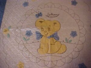 Vintage Baby Quilt Johnny Bear