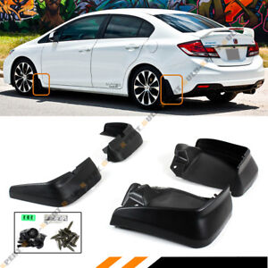 For 2012 15 9th Gen Honda Civic 4dr Sedan Mud Flaps Splash Guards Set Front Rear