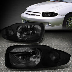 For 2003 2005 Chevy Cavalier Pair Smoked Housing Clear Corner Headlight lamp Set