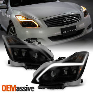 Black Smoked Fits 2008 2015 G37 Q60 Coupe Sequential Led Projector Headlights