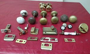 8 Lot Antique East Lake Hardware Brass Porcelain Door Knob Dead Bolt Segal