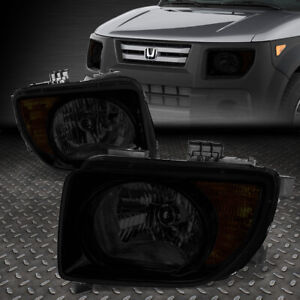 For 2003 2008 Honda Element Pair Smoked Housing Amber Corner Headlight lamp Set