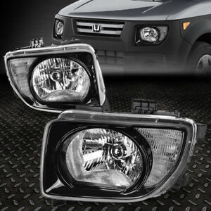 For 2003 2008 Honda Element Pair Black Housing Clear Corner Headlight lamp Set