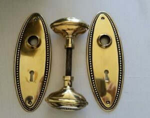 Vintage Solid Brass Oval Door Knobs Set With Spindle And Oval Backplates 01c