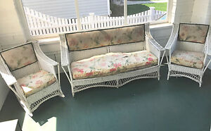 Antique 3 Pc Bar Harbor Wicker Set Sofa Rocker Chair Bloch