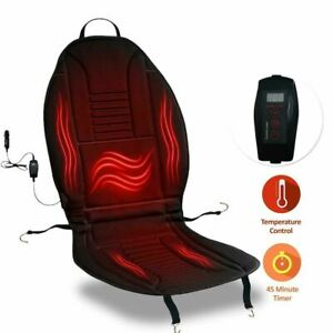 Zone Tech Heated Car Seat Cushion 12v Heating Warmer Pad Cover With Remote Timer