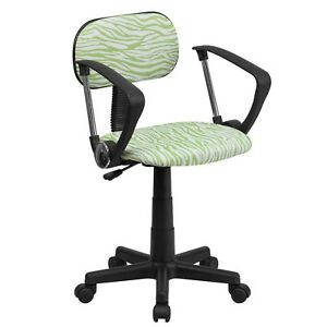 Green And White Zebra Print Computer Chair With Arms Bt z gn a gg