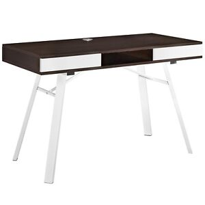Stir 2 drawer Natural Grain Finished Office Desk With Steel Base Cherry