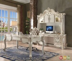 Versailles Traditional Executive 2pc Home Office Set In Bone White Finish