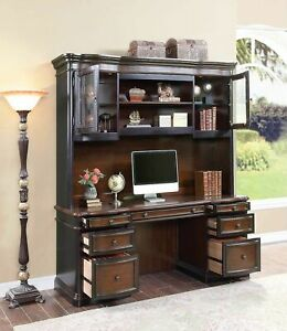 Executive Credenza Desk Hutch W Glass Doors Two Tone Wood Office Furniture