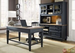 Bungalow Black Executive Home Office Furniture Desk Set