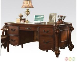 Vendome Traditional Ornate 5 drawer Executive Desk In Cherry Finish