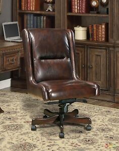 Cigar Brown Genuine Leather Armless Desk Chair Traditional Office Furniture