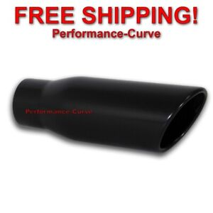 Black Stainless Steel Exhaust Tip 3 Inlet 4 Outlet 12 Long