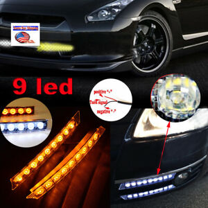 12v 9led Audi Style Led Strip Daytime Running Light Drl Turn Signal Combo Light