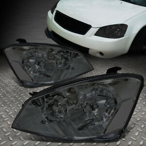 For 2005 2006 Nissan Altima Pair Smoked Housing Clear Corner Headlight Lamp Set