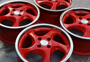 4 Turbo Wheels 4x98 7x15 Lancia Delta Integrale Hf Fiat Alfa Romeo Red Polsh